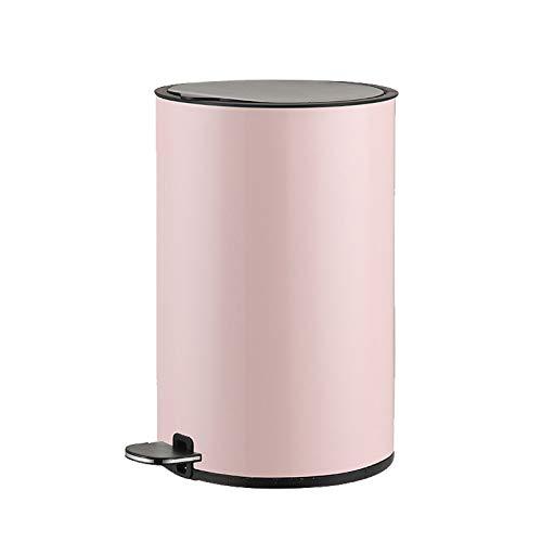 Mülleimer Pedal Trash Can Kreative Haushalt Wohnzimmer Schlafzimmer Edelstahl Müllbehälter Badezimmer Küche Pedal Abfalleimer mit Deckel, 8 Liter / 2,1 Gallonen Abfalleimer fürs Bad (Color : Pink)