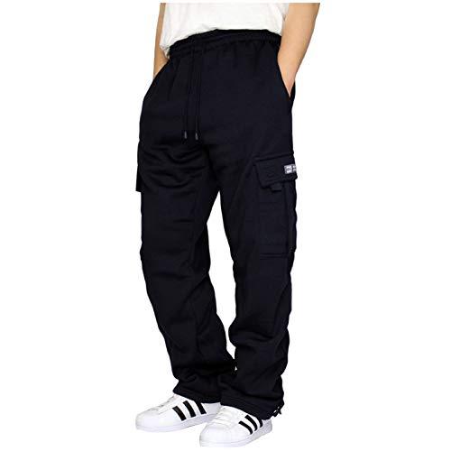 POPLY Pantalon Jogging Sport Hommes Bootcut avec Grandes Poches Latérales Grande Taille Pantalon Travail de Loisirs Casual Workout Vêtement Homme