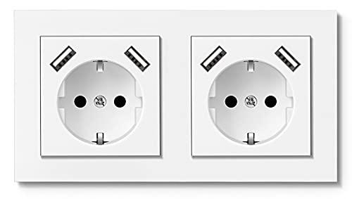 RAVPHICS Double prise avec USB (max 3,4 A), prise murale USB Schuko compatible avec boîtier encastré standard 2 prises Blanc pur brillant Installation facile