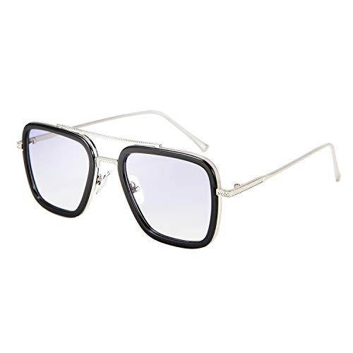 FEISEDY Gafas de sol Retro Tony Stark Gafas Iron Man Gafas de sol Gafas Cuadradas Marco de Metal para Hombre Mujer B2510