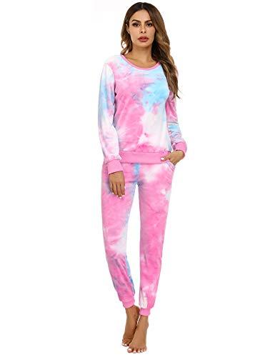 Abollria Pijama Mujer Tie Dye Chandal Invierno Dos Piezas Conjunto de Joggers...