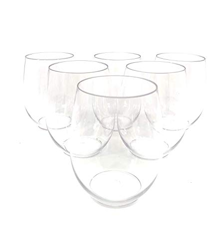 36 piece Stemless Unbreakable Crystal Clear Plastic Wine Glasses Set of 36 (10 Ounces)
