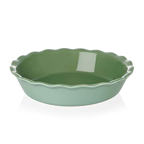 SWEEJAR Ceramic Pie Pan for Baking, 10 Inches Round Baking Dish for Dinner, Non-Stick Pie Plate with Soft Wave Edge for Apple Pie, Pumpkin Pie, Pot Pies (Green)