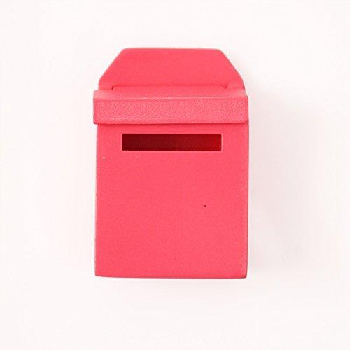 Inzopo - Buzón de madera con calcomanía para casa de muñecas (1/12, decoración de jardín), color rojo rosa y rojo