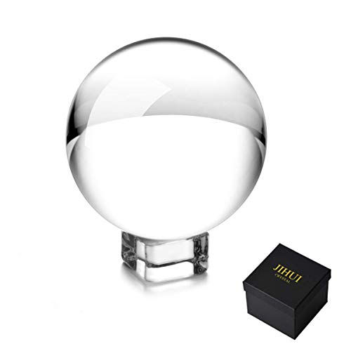JIHUI Photograph Crystal Ball Sphere K9 Glass Ball 2.36' (60mm) with Pouch & Stand for Photography Prop and Decorative
