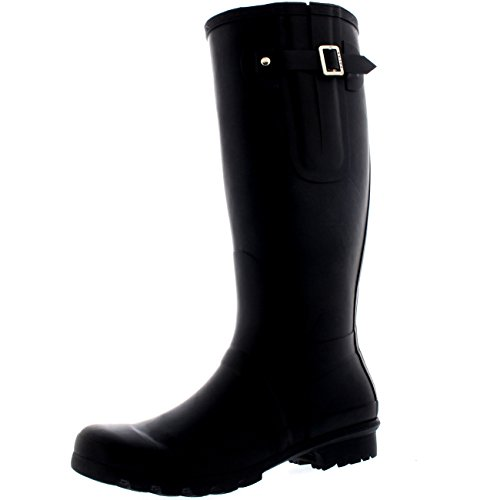 Polar Mens Adjustable Side Rubber Muck Tall Snow Rain Waterproof Wellingtons - Black - UK12/EU46 - BL0236