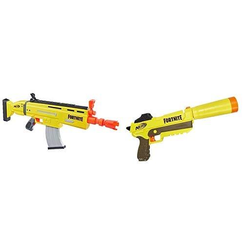 Nerf E6158EU4 AR-L Motorisierter Spielzeug Blaster, 20 Fortnite Elite Darts, Klappvisier – 6.7 x 78.7 x 33.7 cm & Blaster mit abnehmbarem Lauf und 6 Fortnite Elite Darts für Jugendliche, Mehrfarbig