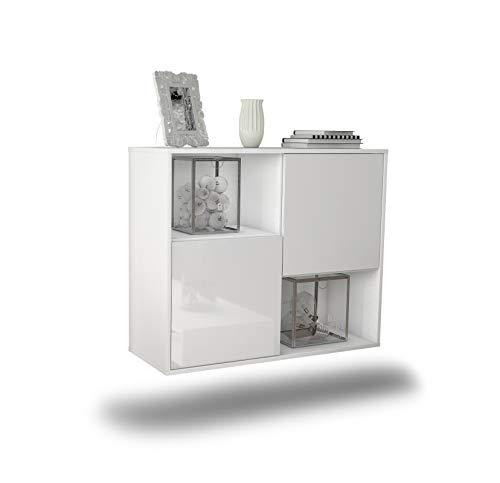Dekati Sideboard Modesto hängend (92x77x35cm) Korpus Weiss matt | Front Hochglanz Weiß | Push-to-Open