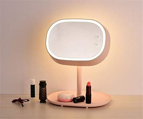 chenruihua 3-en-1 Lámpara de Espejo LED Pantalla táctil LED Espejo de Maquillaje de vanidad con Luces LED Mesa Recargable USB Lámparas de Cama Coloridas Vestidor E Rosa