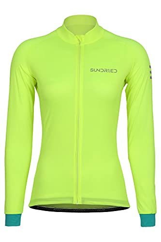 SUNDRIED Camiseta de Ciclismo de Manga Larga para Mujer (Verde, M)