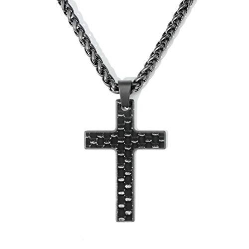 """Kohlenstoff 12""""Vaith"""" Chain Herren Kreuz Anhänger Halskette aus Carbon und Edelstahl (68)"""