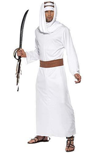 Smiffys-20373m Disfraz de Lawrence de Arabia, tnica, Pieza para la Cabeza y cinturn, Color Blanco, M-Tamao 38'-40' (Smiffy'S 20373M)