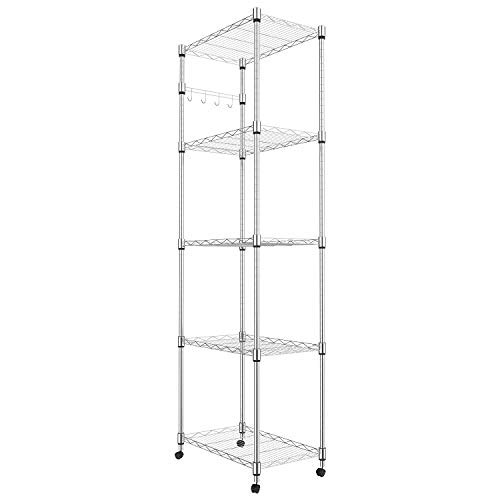 Homdox 5 Tier Steel Wire Shelving Unit on Wheels,Chrome Shelves for Garage Kitchen Living Room,Heavy...