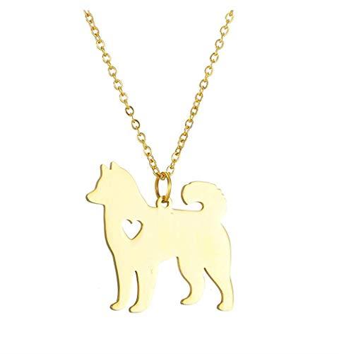 Collar Precioso Collar con Colgante De Akita, Collar De Perro Mascota Personalizado De Acero Inoxidable, Gargantilla De Cadena De Color Dorado Y Plateado, Recuerdo De Hachi para Mascotas