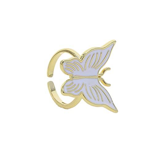 Moda Blanco Neón Esmalte Mariposa Color Oro Vermeil Joyería Colorido Anillo De Dedo Para Mujeres Abrir Ajustar Tamaño