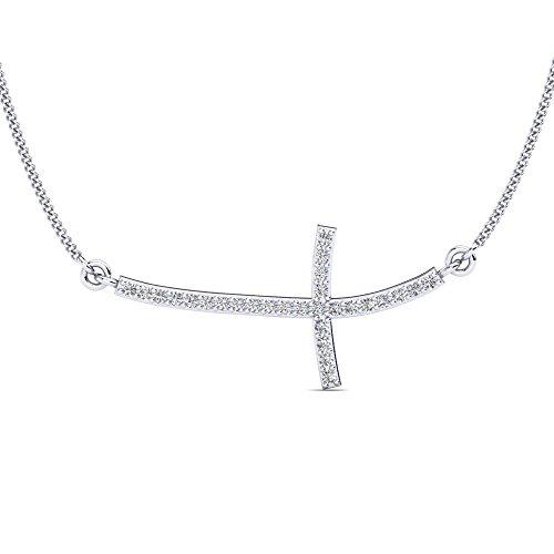 Moderne Kreuzkette-Silber Houx aus hoch qualitativen Zirkonia Steinen und 925 Sterling Silber mit einem seitlichen Kreuz - Halskette Damen Silber + 45 cm Silberkette und zusätzliches Luxusetui