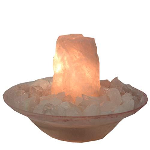 Rosenquarz Rohstein Zimmerbrunnen | Edelstein-Brunnen mit Glasschale Paloma rosa | Bergkristall, Rosenqurz Dekosteine | Raumluftbefeuchter, Wasserspiel, Tischbrunnen