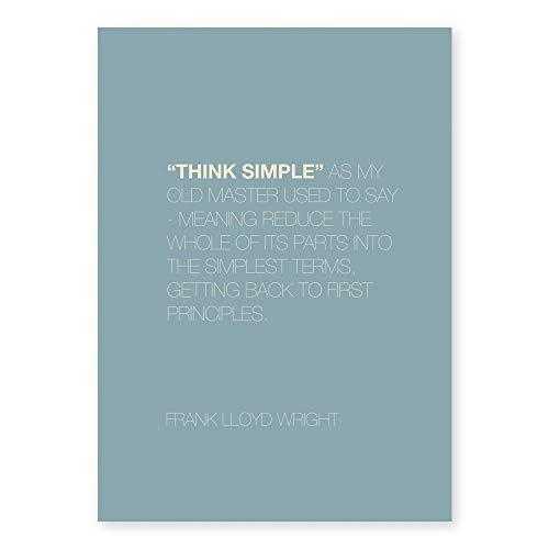 7e8デザイン インテリアのためのデザインポスター 【額装なし】 「THINK SIMPLE」 FRANK LLOYD フランクロイド (500x700mm)