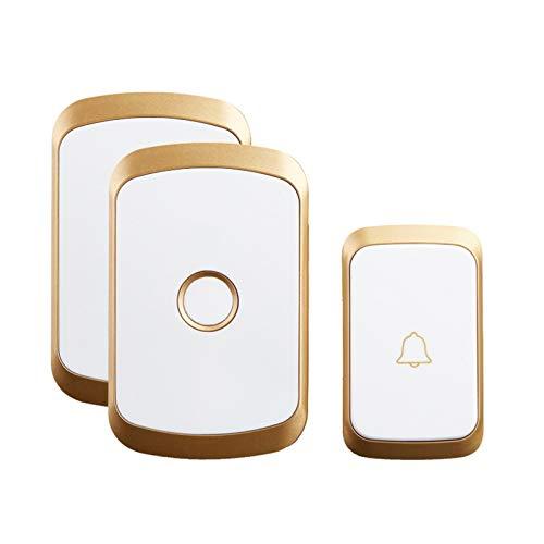 PrittUHU Inicio Bienvenido Doorbell inalámbrico 300m Remoto Impermeable 1 2 Botón 1 2 3 Receptor 60 Carillones 5 Volumen 0-110DB (Color : Gold 1x2)