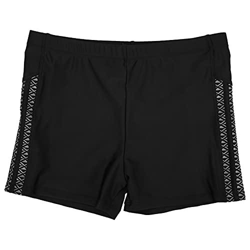 Pwshymi Pantalones Cortos de natación para Hombres Poliéster Transpirable Negro Traje de baño Pantalones Cortos Suaves de Playa Pantalones Cortos de Playa de Secado rápido para Hombres(XL)
