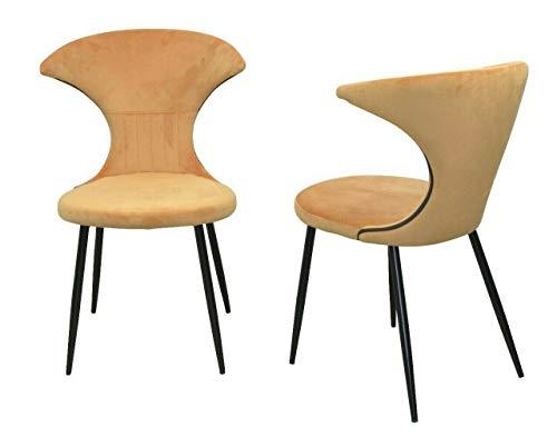 BJYX 2X Esszimmerstühle Ockerfarben Samtbezug Polsterstuhl Stuhl Stühle Lounge