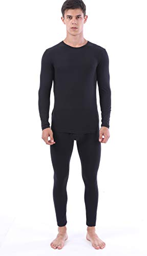 Long Johns for Men Thermal Set Winter Gear Base Layer Ultra Soft Thermal Underwear (XXXX-Large, Black)