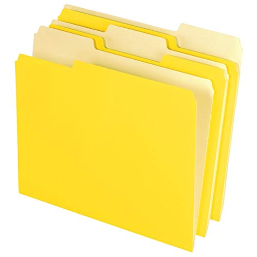 Office Depot File Folders, Letter, 1/3 Cut, Yellow, Box of 100, 97663