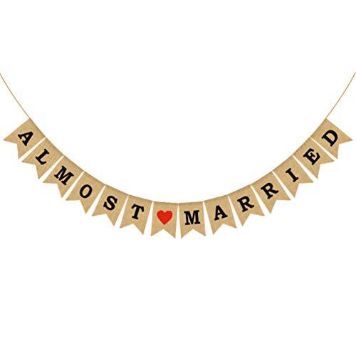 Pancarta de arpillera de PretyZOOM para bodas o fiestas de compromiso, decoración rústica
