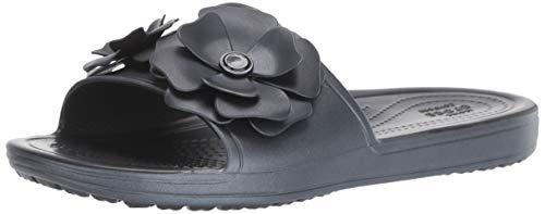 crocs Damen Sloane Vividblooms Slide W Dusch- & Badeschuhe, Schwarz (Black/Black 060b), 41/42 EU