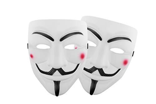 Udekit Hacker Maschera V per Vendetta Maschera per Donne Uomini Halloween Costume Cosplay (Bianco Due Piece)
