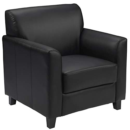 Flash Furniture Black Leather Chair table, 29' D x 30.5' W x...