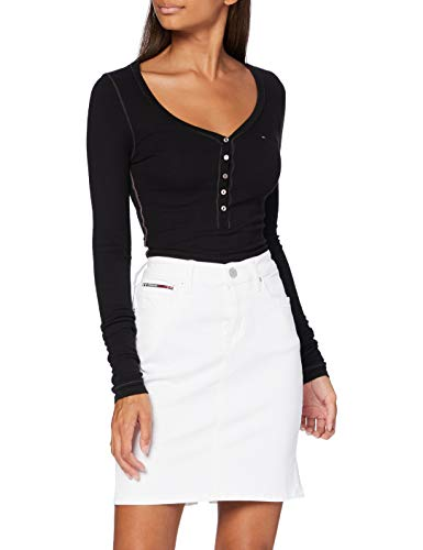 Tommy Jeans Classic Denim Skirt Cnw Jupe, Blanc (Candle White STR 1cd), Unique (Taille Fabricant: NI30) Femme