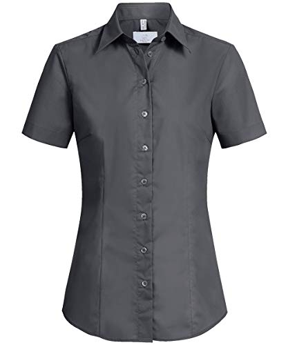 GREIFF Damen-Bluse Basic, Regular Fit, Stretch, Easy-Care, 6516, anthrazit, Größe 52