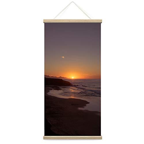 "Bestdeal Depot Hanging Poster Ocean Sunset IX Coastal Orange Photography Relax/Calm Romantics Sunset Warm Canvas Prints Wall Art for Living Room, Bedroom - 18""x36"""