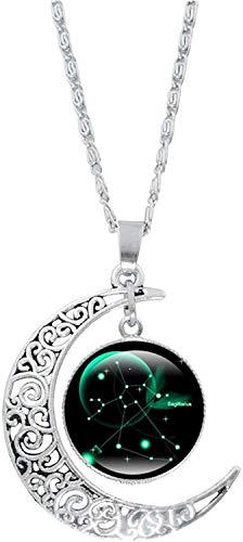 ZBTOP 12 Constelación Luna Collar Regalos Astrología Galaxy & Media Luna Colgante Collar de cuentas de vidrio para mamá, mujeres, niñas (Sagitario)