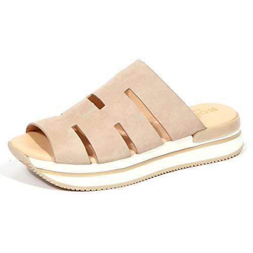 Hogan 1693J Sandalo Donna beige H257 Ciabatta Suede Shoe Woman [39]