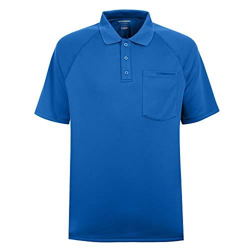MOHEEN Herren Poloshirt/Funktionsshirt Mit Brusttasche in Übergrößen L bis 6XL - für Sport Freizeit und Arbeit (L,Blau)