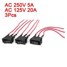 15A 250V/ 20A 125V AC 3 Wired SPDT Rocker Switch 3pcs Black for Car