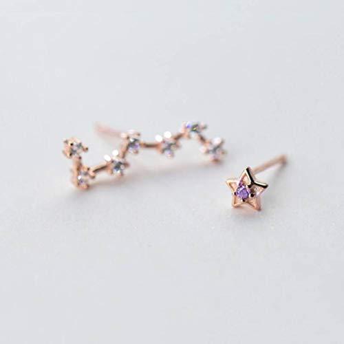WOZUIMEI S925 Pendientes de Plata con Forma de Estrella para Mujer Han Dulce Estrella de Cinco Puntas Asimétrica con Tachuelas de Diamantes Grandesoro rosa