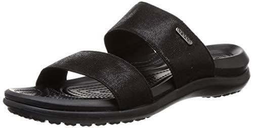 Crocs womens Women's Capri Two-strap Flip Flop | Casual Comfortable Sandals for Women Water Shoe, Black, 6 US