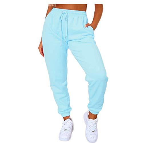 Pantalones de chándal para mujer, estilo informal, cintura alta, con cordón, color sólido, para entrenamiento azul M