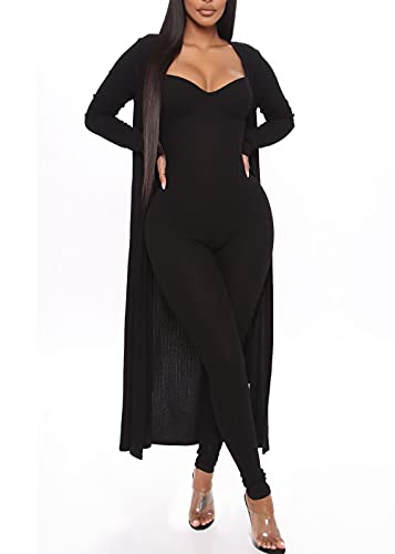 Cosygal Women's Causal 2 Piece Outfits Ribbed Long Cardigan Bodycon Spaghetti Strap Jumpsuit Romper Set Black Large
