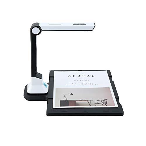 Cámara de documentos, 10MP de alta definición USB plegable de alta velocidad Sin imagen de la cámara Tamaño del documento escaneado del escáner A4 con luz LED Pedal USB para Office Biblioteca Banco