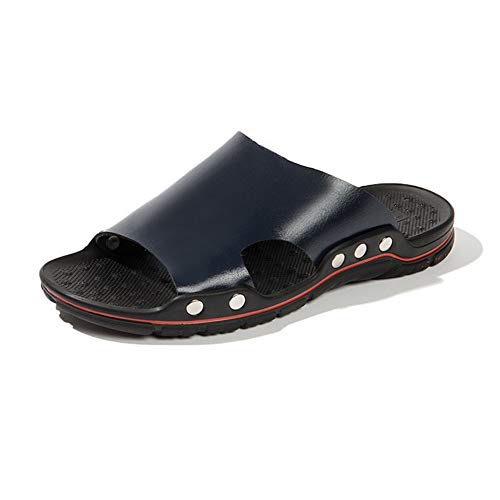 ZHANGNING Zapatillas Casuales para Hombre Zapatos de Playa de Moda de Verano de Cuero de Microfibra Antideslizante al Aire Libre (Color : Blue, Size : 38 EU)