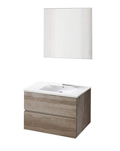 Baikal 830134002 Conjunto de Muebles de Baño con Lavabo y Espejo, Suspendido a la Pared, Dos Cajones, Roble Gris Nebraska, Cm, 60 X 55 X 46 cm