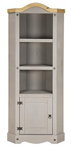 Corona Grey Wax Corner Storage Display Unit - Mexican Pine, Rustic, Distressed