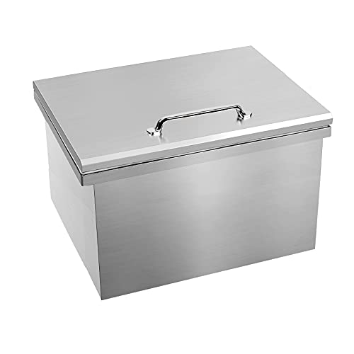 Karpevta Drop-in Ice Chest Stainless Steel Outdoor Drop In Ice Chest W23D17H12 Inch with Cover Drop In Ice Bin Cooler