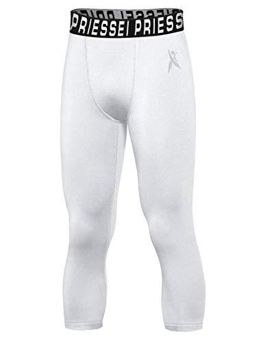 Priessei Pantalones de compresión para niños, mallas de baloncesto juvenil, capa base atlética de secado rápido, pantalones de béisbol 3/4, Blanco, 10-12 Años