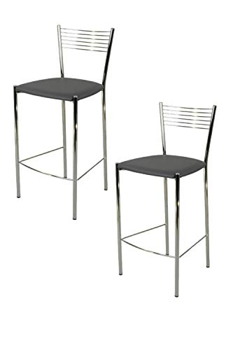 Tommychairs - Set 2 sgabelli alti modello Elegance per cucina e bar, struttura in acciaio cromato e seduta imbottita e rivestita in pelle artificiale colore grigio scuro