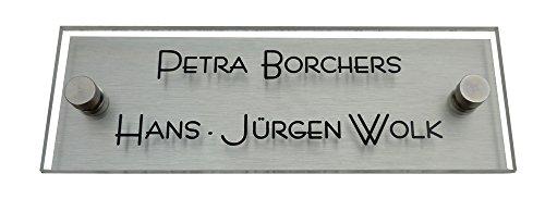 GravUp Modernes Türschild/Namensschild a1 - Plexiglas/Acrylglas SOFORTGRAVUR + VORSCHAU: 1 oder 2 Zeilen Gravur inklusive design by 2er Set Edelstahl V2A Zierkappen + Gewinderingen.